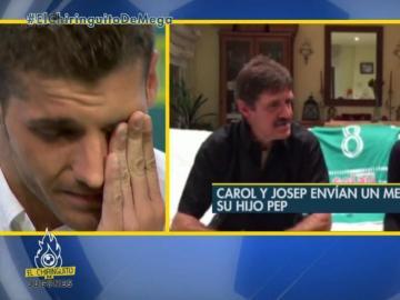 Pep Caballé se emociona en 'El Chiringuito de Mega'.