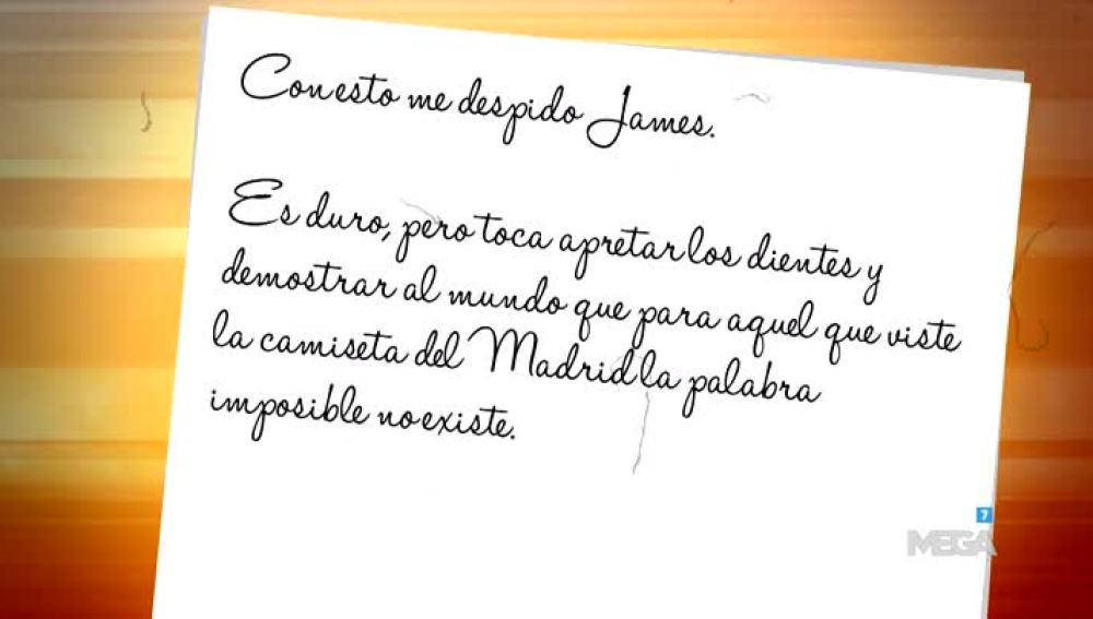 Carta a James Rodríguez