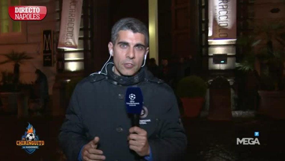 J.L.Sánchez, en el hotel del Madrid en Nápoles