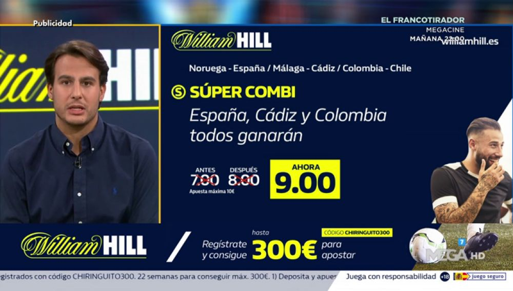 Juanfe te trae la mejor oferta de registro para que apuestes con William Hill