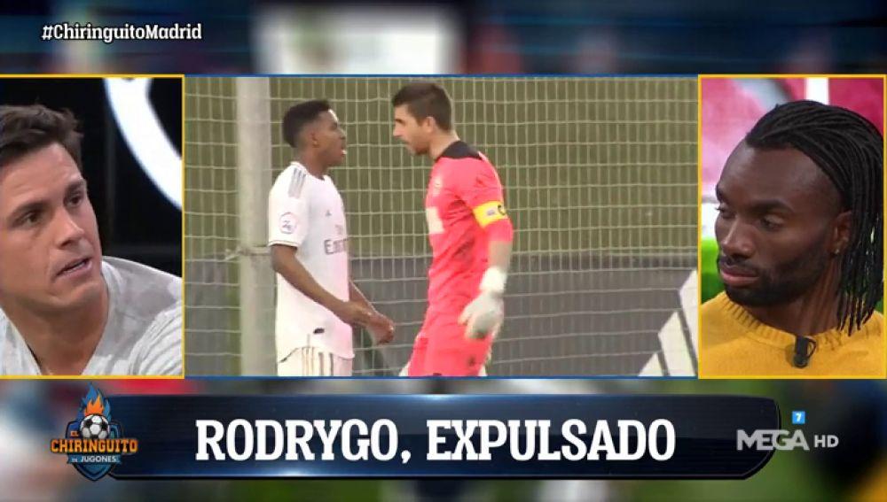 Rodrygo acaba expulsado con el Castilla tras celebrar su gol en la cara del portero
