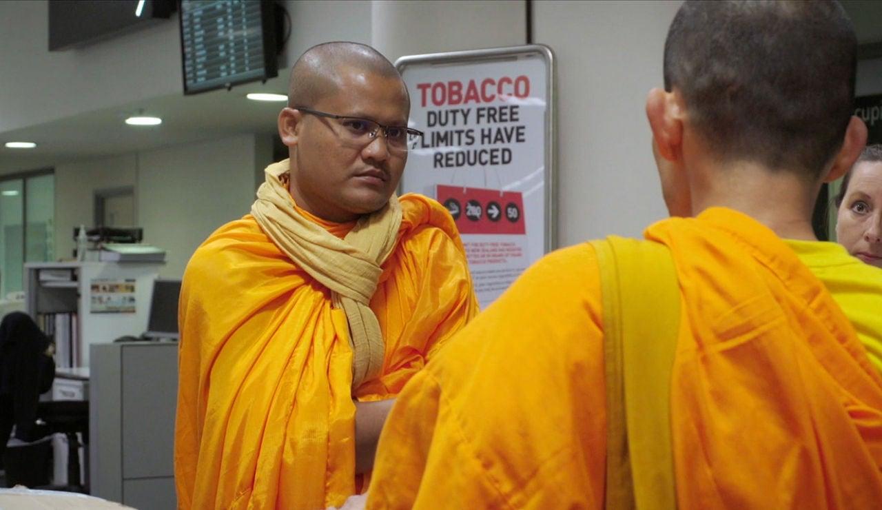Monje budista en Nueva zelanda
