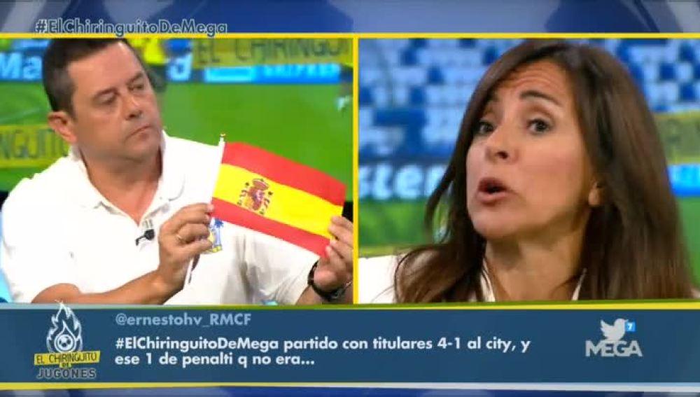 Roncero y una bandera de España