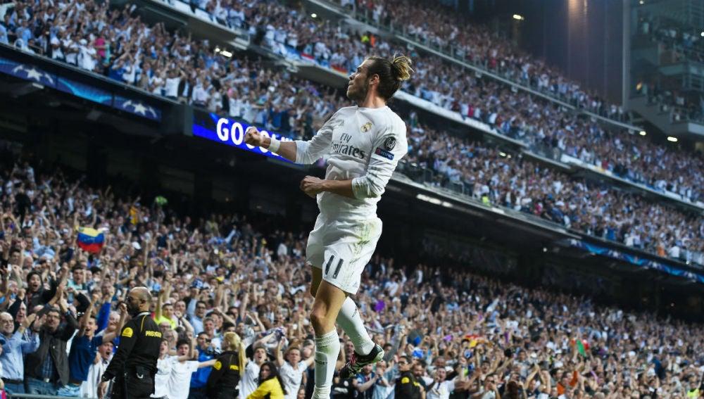 Bale celebra el gol ante el City