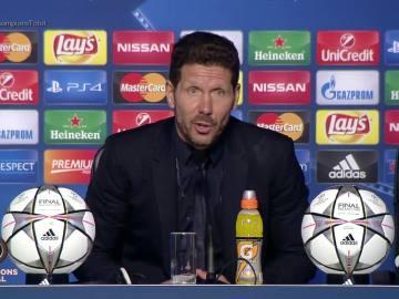 Simeone, durante la rueda de prensa posterior a la final de la Champions
