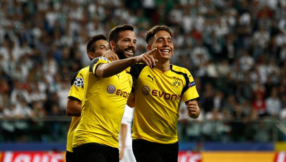 Los jugadores del Borussia Dortmund celebrando un gol en Champions League