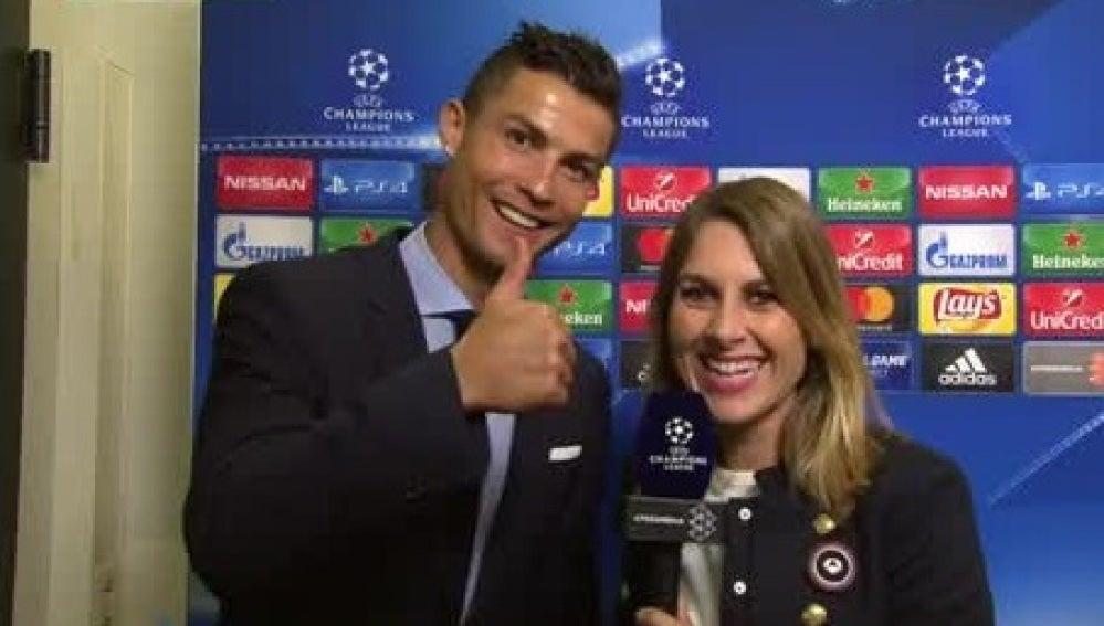 Cristiano Ronaldo, con Susana Guasch tras el Dortmund - Real Madrid