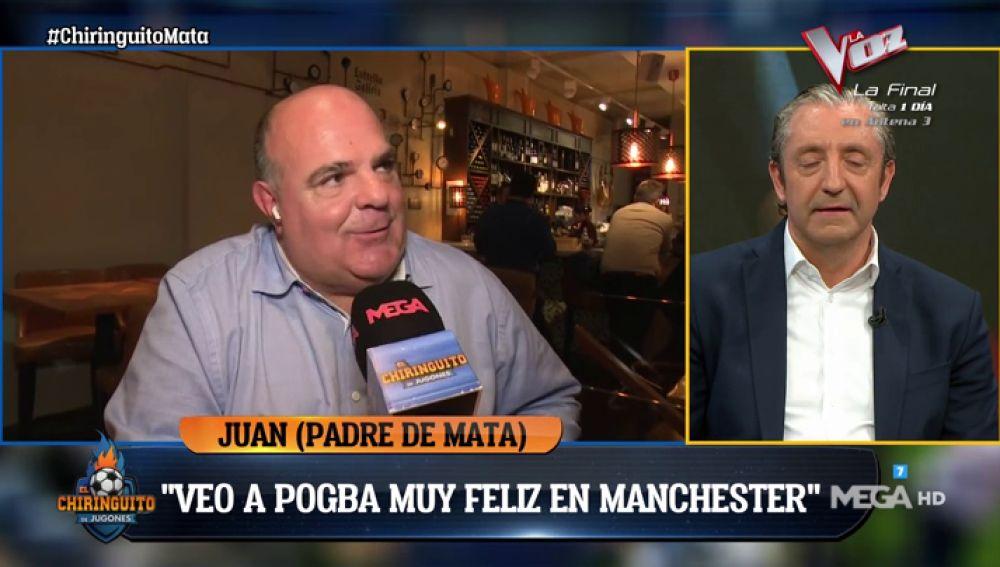 """Juan, padre de Juan Mata: """"Que esté Zidane en el Madrid quizás haga pensar a Pogba"""""""
