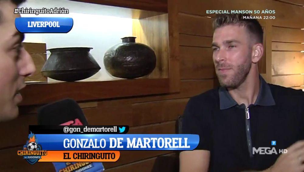 Adrián San Miguel, con El Chiringuito tras protagonizar el triunfo del Liverpool en la Supercopa de Europa
