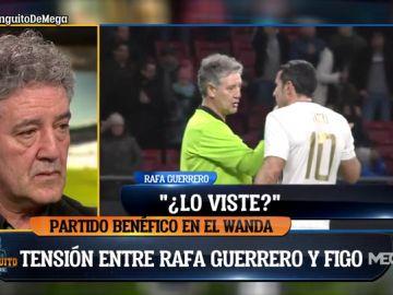 Enganchón entre Figo y Rafa Guerrero en el partido de leyendas del Metropolitano