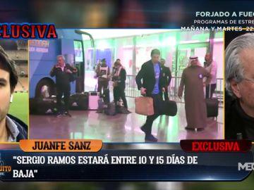 """Juanfe Sanz: """"Sergio Ramos estará de baja entre 10 y 15 días por una lesión de tobillo"""""""